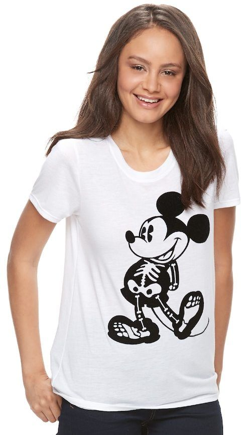 d600dab2ba48b Round out a your Halloween wardrobe with this spooky juniors  Disney s  Mickey Mouse graphic tee. In black