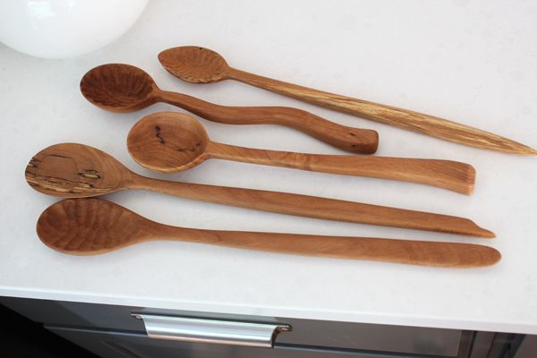 Handmade wooden spoon with very beautiful texture