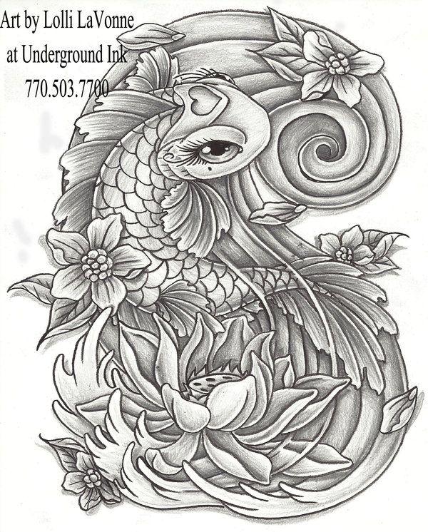 Girly Koi Cb And Lotus Grey By Lavonne On Deviantart Tattoos Koi Dragon Tattoo Koi Fish Tattoo