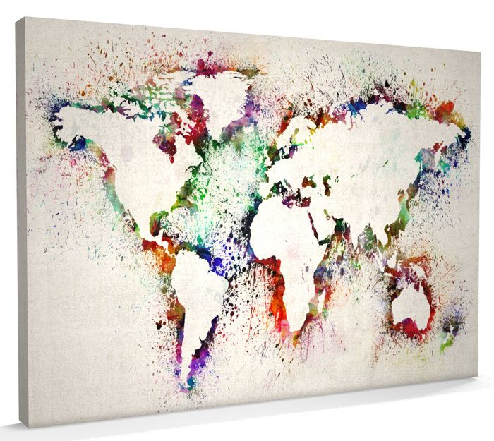 Map of the world map abstract painting canvas art a3 to a1 v778 gumiabroncs