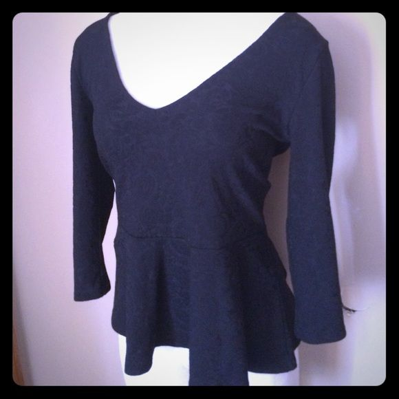F21 black peplum top V neck damask print fabric, low scoop in back. Very cute! Forever 21 Tops