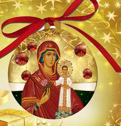 OrnaTheoB - Orthodox Christmas Ornament Theotokos Bulb | Religious ...