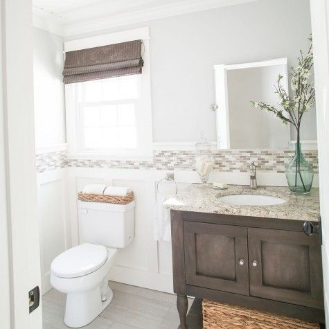 New England Farmhouse Home Tour Benjamin moore, Powder room and Walls
