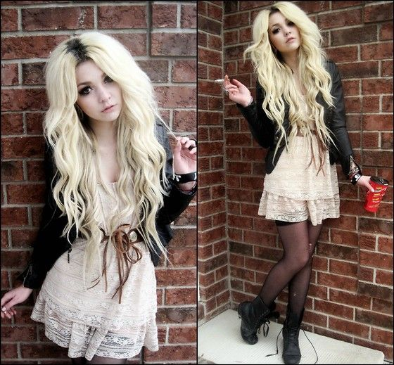 Leather Jacket, Cream Lace Dress, Tie Up Belt, Thigh Highs, Combat Boots