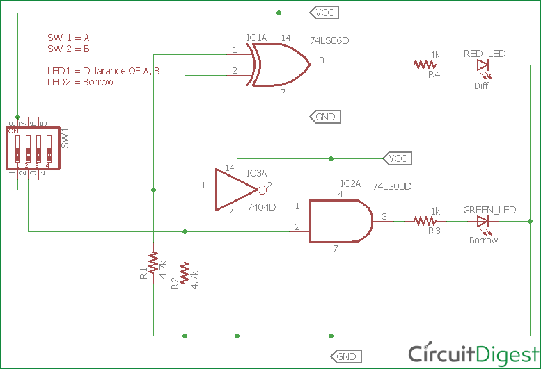 Half Subtractor Circuit And Its Construction Circuit Diagram Wearable Electronics Circuit