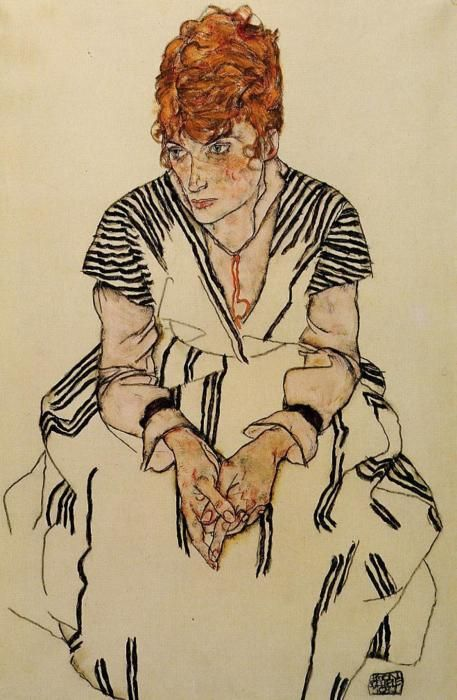 The Artist's Sister in Law in a Striped Dress, 1917  Egon Schiele