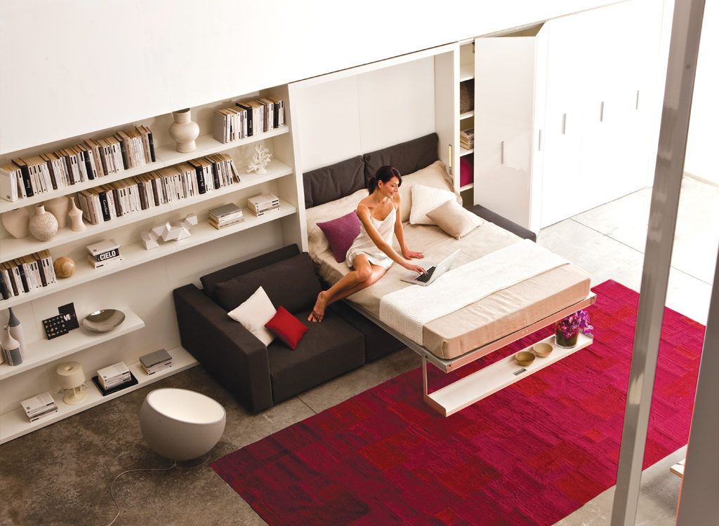 The Swing is a self-standing, queen size murphy bed with a sofa and sliding chaise. Swing also provides additional storage under the sofa.