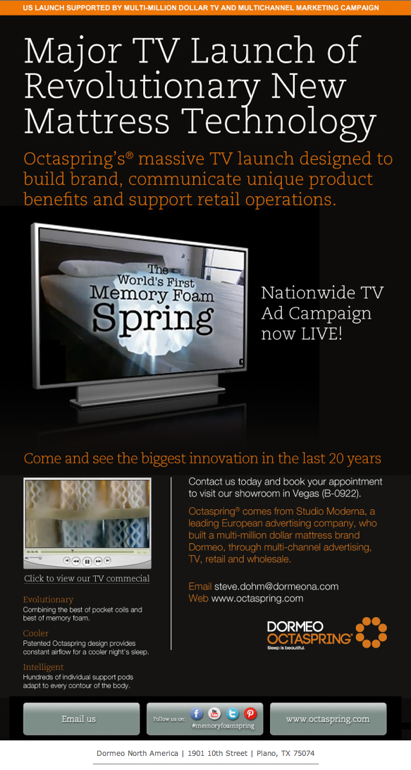 Octaspring's US TV Launch announced Las Vegas Market at