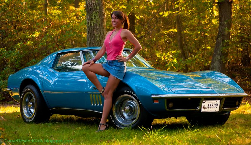 A busty female in a drifting corvette is quite the sight