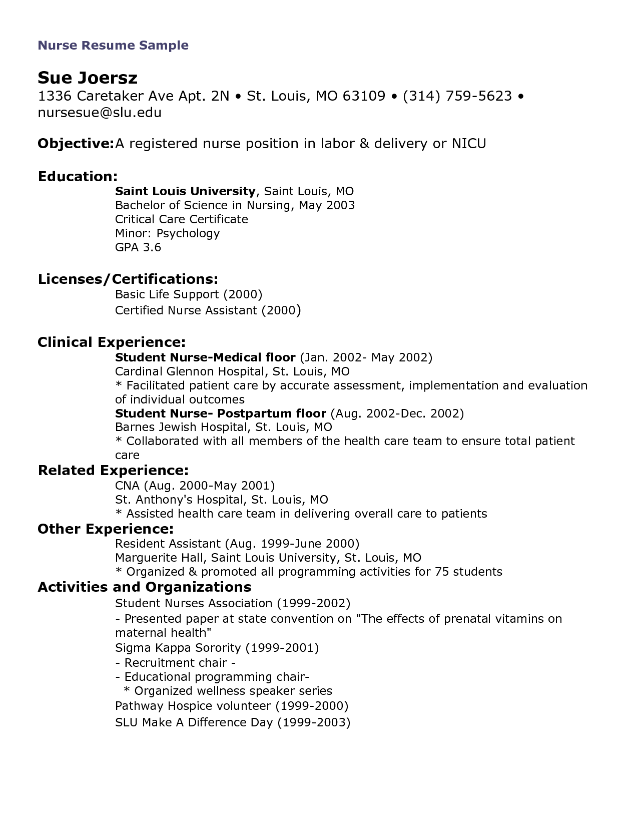 Resume For Heals Application Letter Nurse Trainee Sample