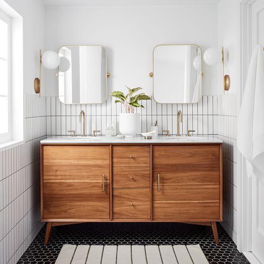Photo of Mid Century Double Bathroom Vanity – White