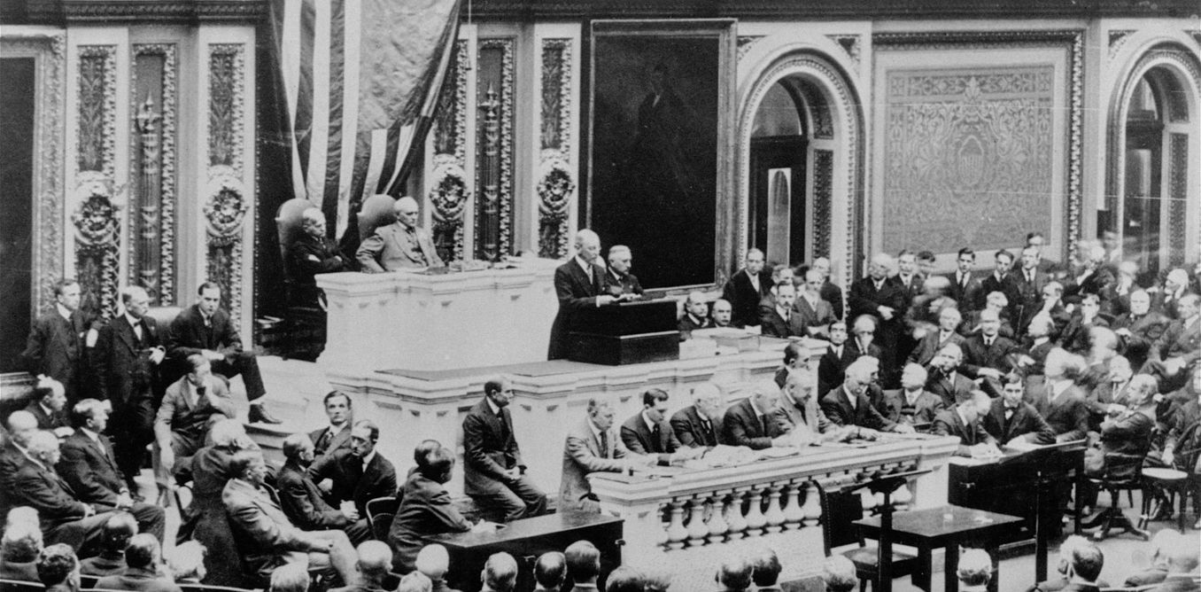 Wilson coined the phrase 'America First' and appealed for 'peace without victory.' But on April 2, 1917 he asked Congress for a declaration of war. The impact on American foreign policy was profound.