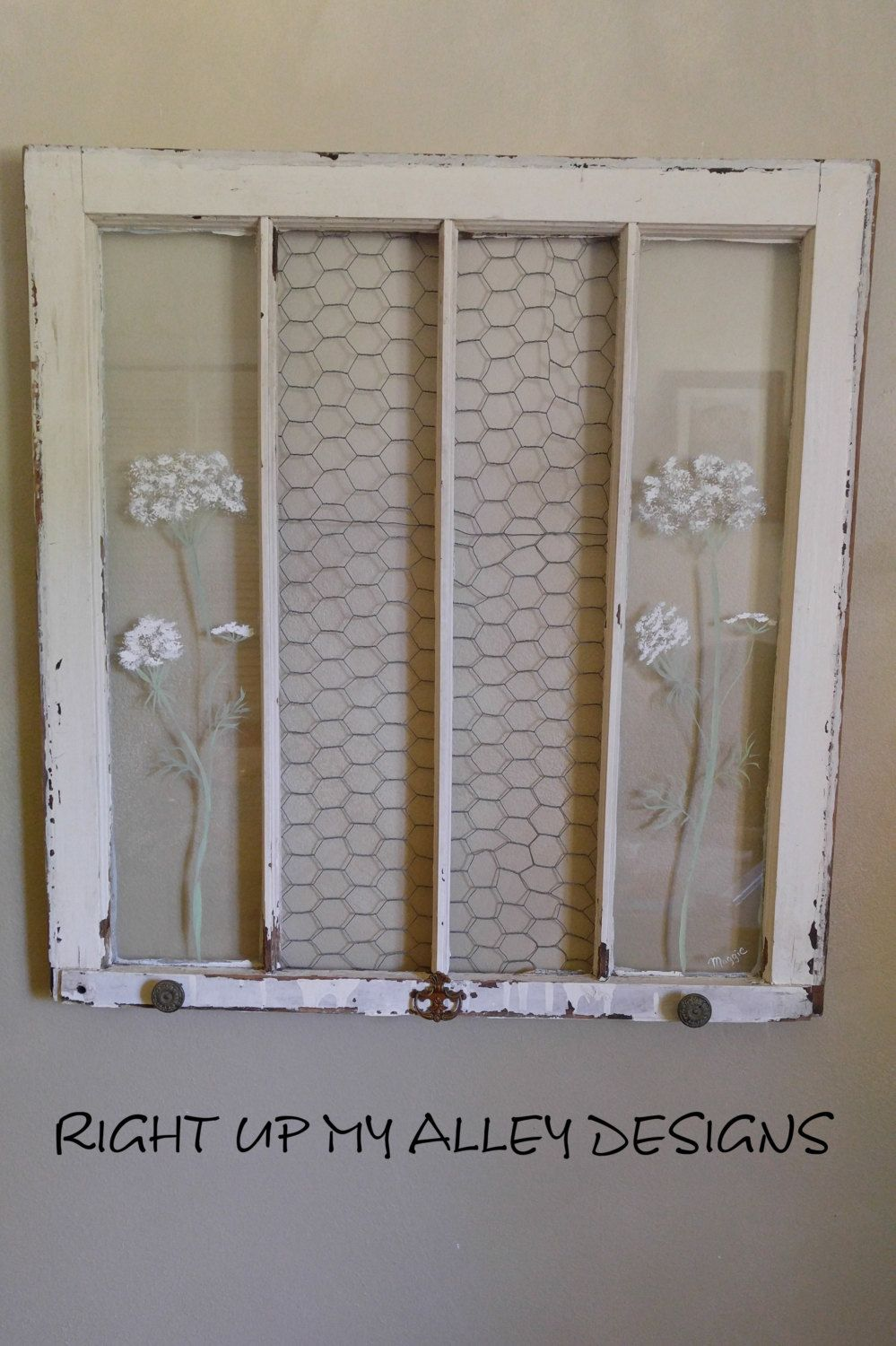 Old Painted Window Shabby Chic Window Queen Anne Lace Window