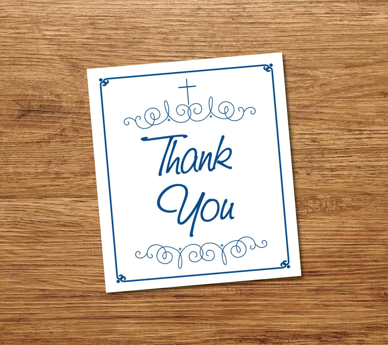 Printable Baptism Thank You Card Instant Download Navy Blue Thank You Christening Card Template Baptism Thank You Cards Thank You Cards Christening Cards