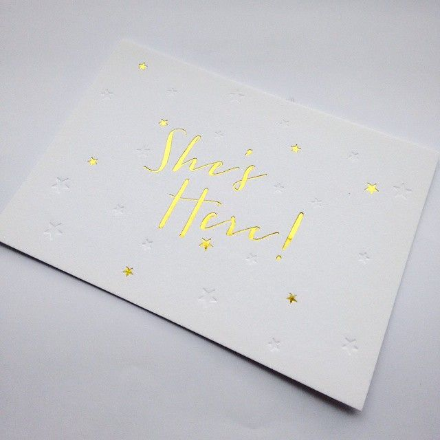 Here's the front of a double-sided birth announcement I printed recently. I love the combo of the gold foil and blind impression