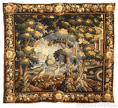 Medieval tapestry fabric pattern by Bombaert, via Dreamstime