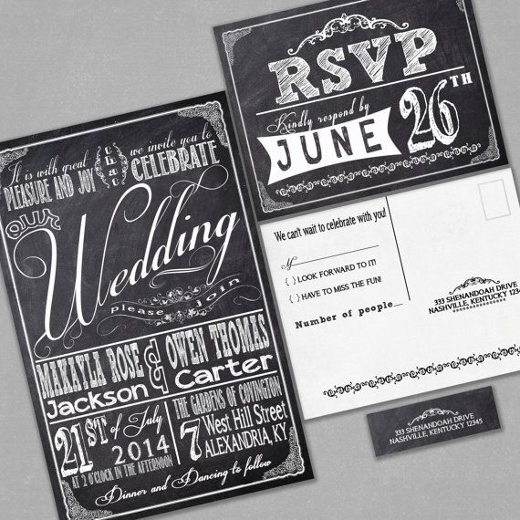 Chalkboard Wedding Invitations RSVP Cards And Address Labels Retro Typography Sample Set Black Friday Sale Discount