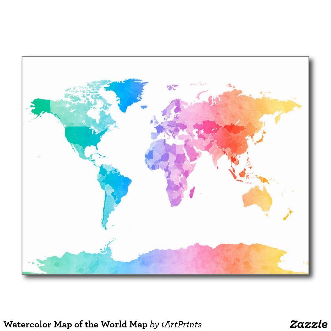Postal Mapa de la acuarela del mapa del mundo | El mapa del mundo ...