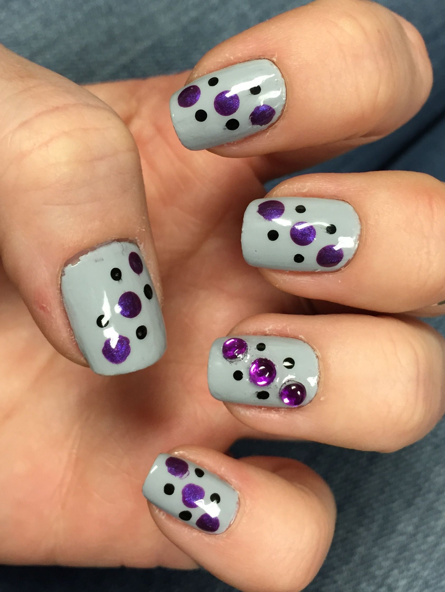 grey purple black dots | Nail Art | Pinterest | Black dots, Nail ...