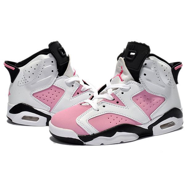 more photos 9bdad 4cc7c Kids Jordan 6 Retro White Black Pink ( 51) ❤ liked on Polyvore featuring  shoes, sneakers and jordans
