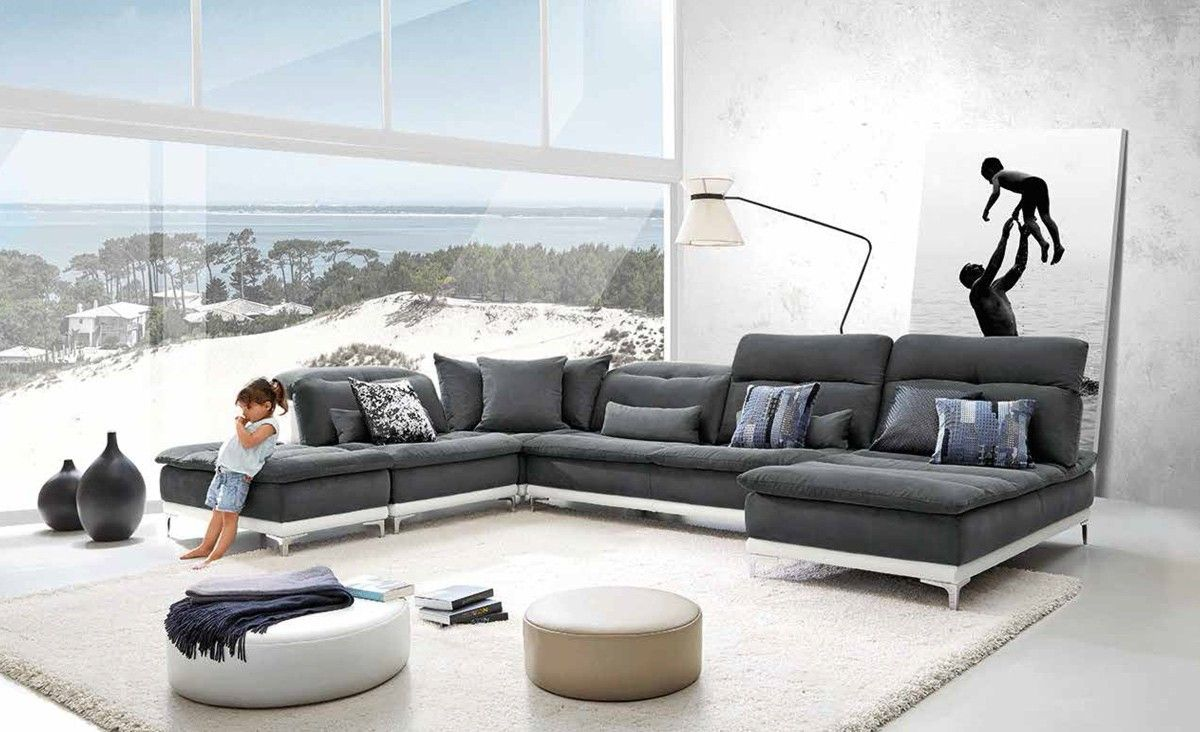 lusso horizon modern grey fabric u0026 leather sectional sofa