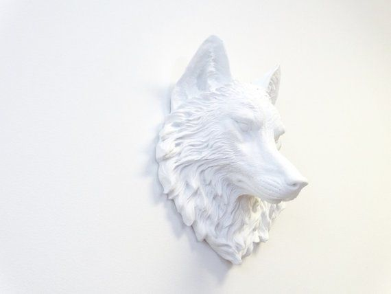 Wolf Head Wall Mount White Wolf Head Wall Decor Faux Etsy Wolf Wall Art Baby Wall Art Faux Taxidermy