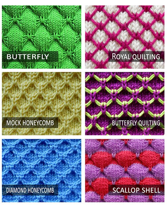 6 free stitch pattern that use Knit 1 Under Loose Strands technique ...