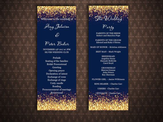 Gold And Navy Wedding Program Templates Gold Glitter Sparkles