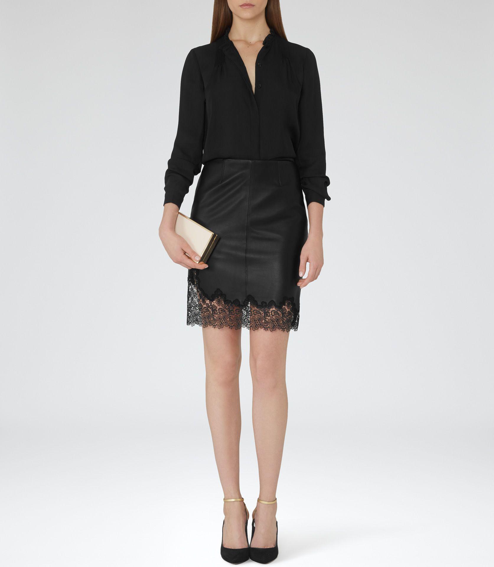 965a3763d7587 Womens Black Sheer Silk Blouse - Reiss Nadja £135