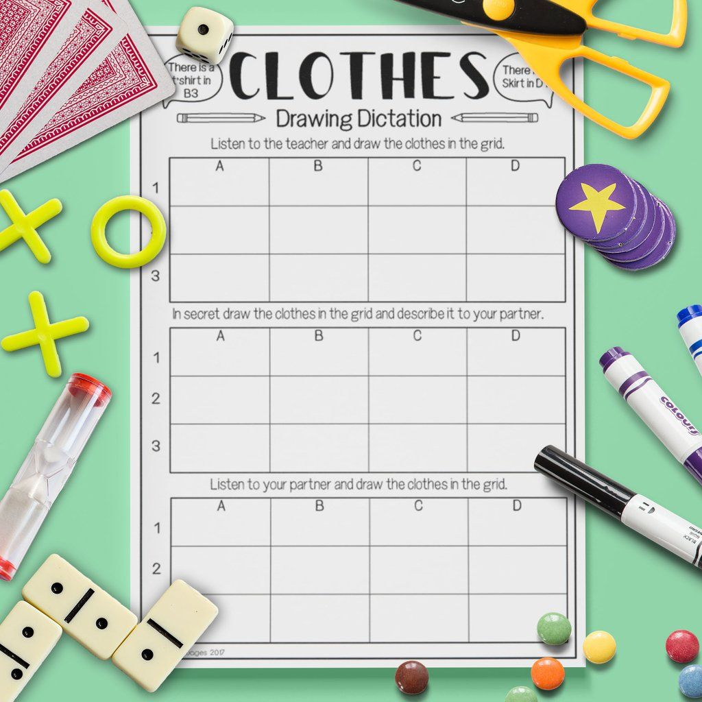 Clothes Drawing Dictation Game