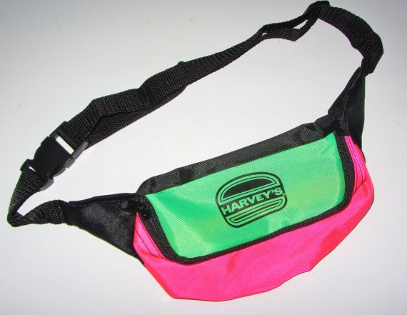 40826ffe35f4e HARVEY'S BURGERS Rare Vintage 80s Neon Fanny Pack Hip Hop Shiny Pink ...