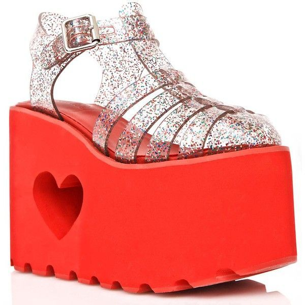 Love Jammer Jelly Platforms (€44) ❤ liked on Polyvore featuring shoes