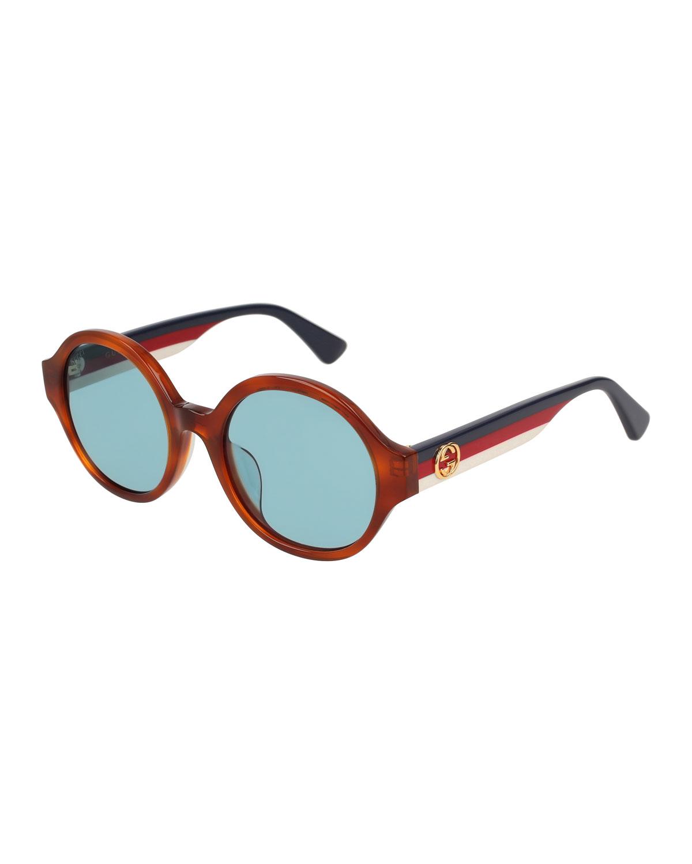 81bb863038 Gucci Round Striped-Arm Sunglasses