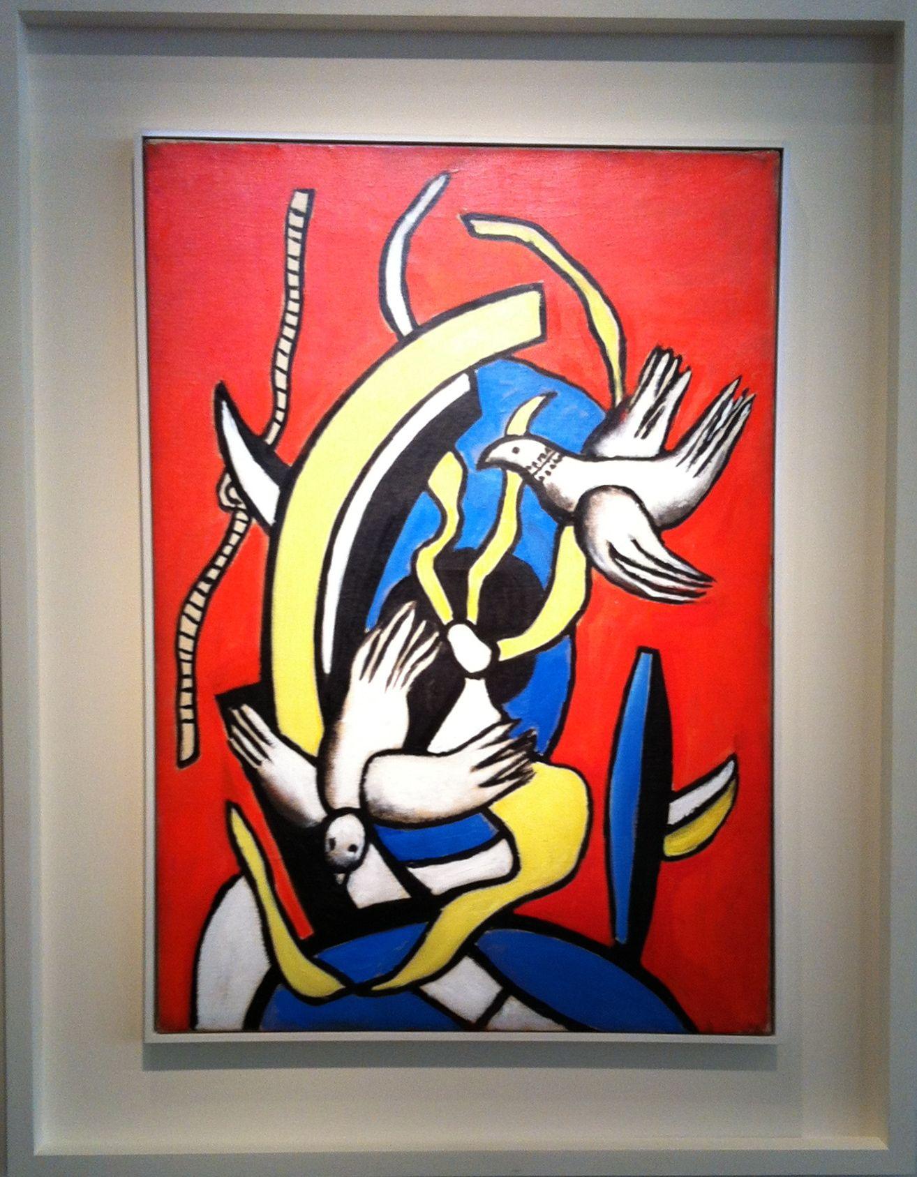 Fernand Leger (1881-1955) - Composition aux deux oiseaux sur fond rouge, 1955.