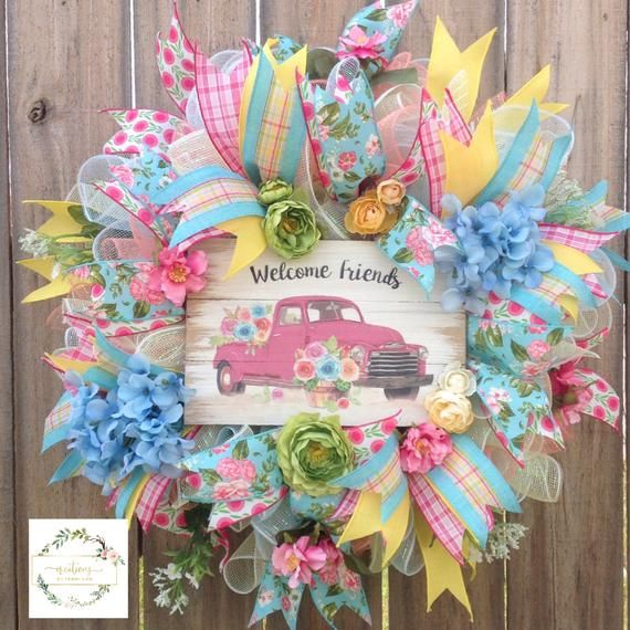 Photo of Vintage Truck Spring Wreath. Summer Wreath. Year Round Wreath. Mother's Day Wreath. Spring Wreaths For The Front Door. Welcome Wreaths.
