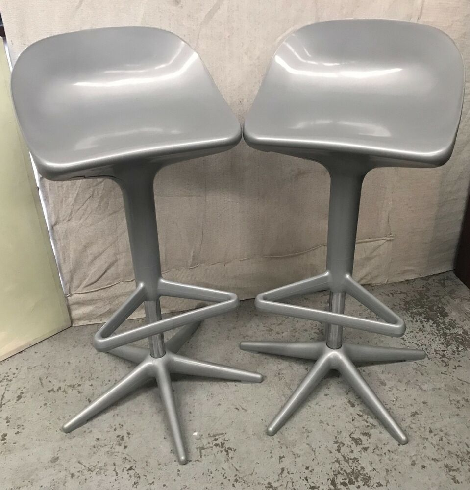 Surprising Details About 2 X Grey Genuine Kartell Spoon Bar Stools Made Ibusinesslaw Wood Chair Design Ideas Ibusinesslaworg