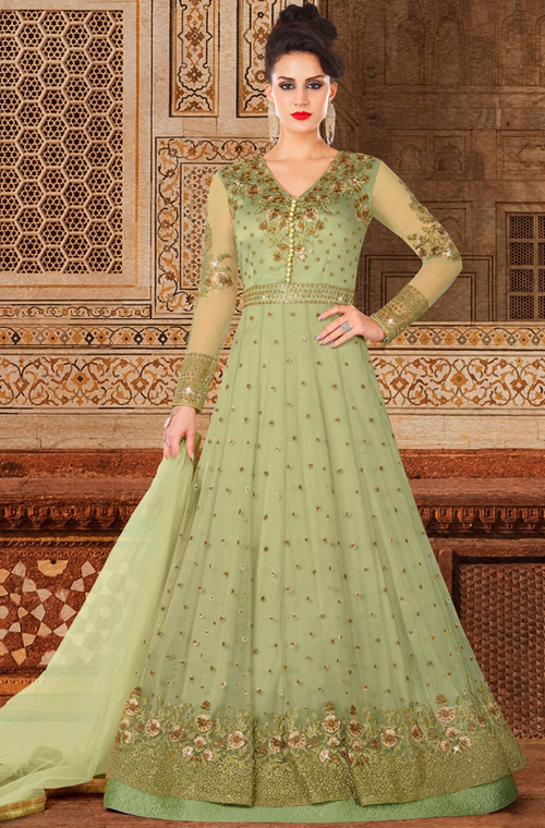4920cc7f5f Pista Green Designer Embroidered Net Anarkali Gown in 2019 | Wedding ...