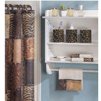 African Safari Jungle Leopard Print Bathroom Set Shower Curtain Towels More