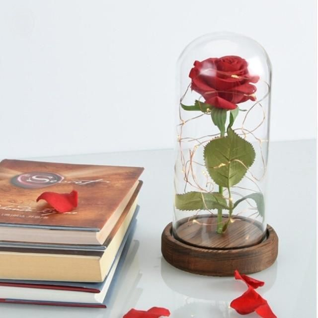 Led Beauty 2 Rose And Beast Battery Powered Red Flower String Light Desk Lamp Romantic Valentines Day Birthday Gift Decoration Home & Garden