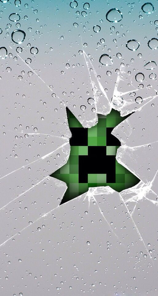 Cracked Screen Minecraft Wallpaper Creeper