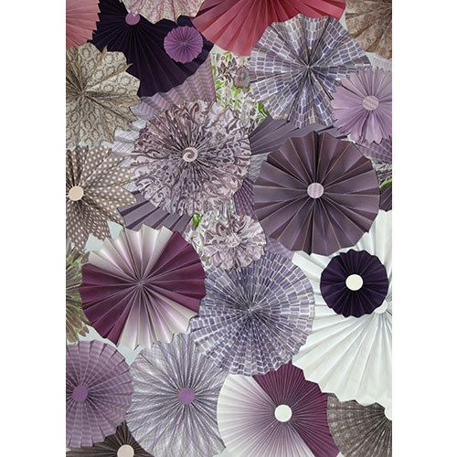 10pc Purple Rosettes Paper Fans Wedding Pinwheel Backdrop Decor Candy Buffet Decorations