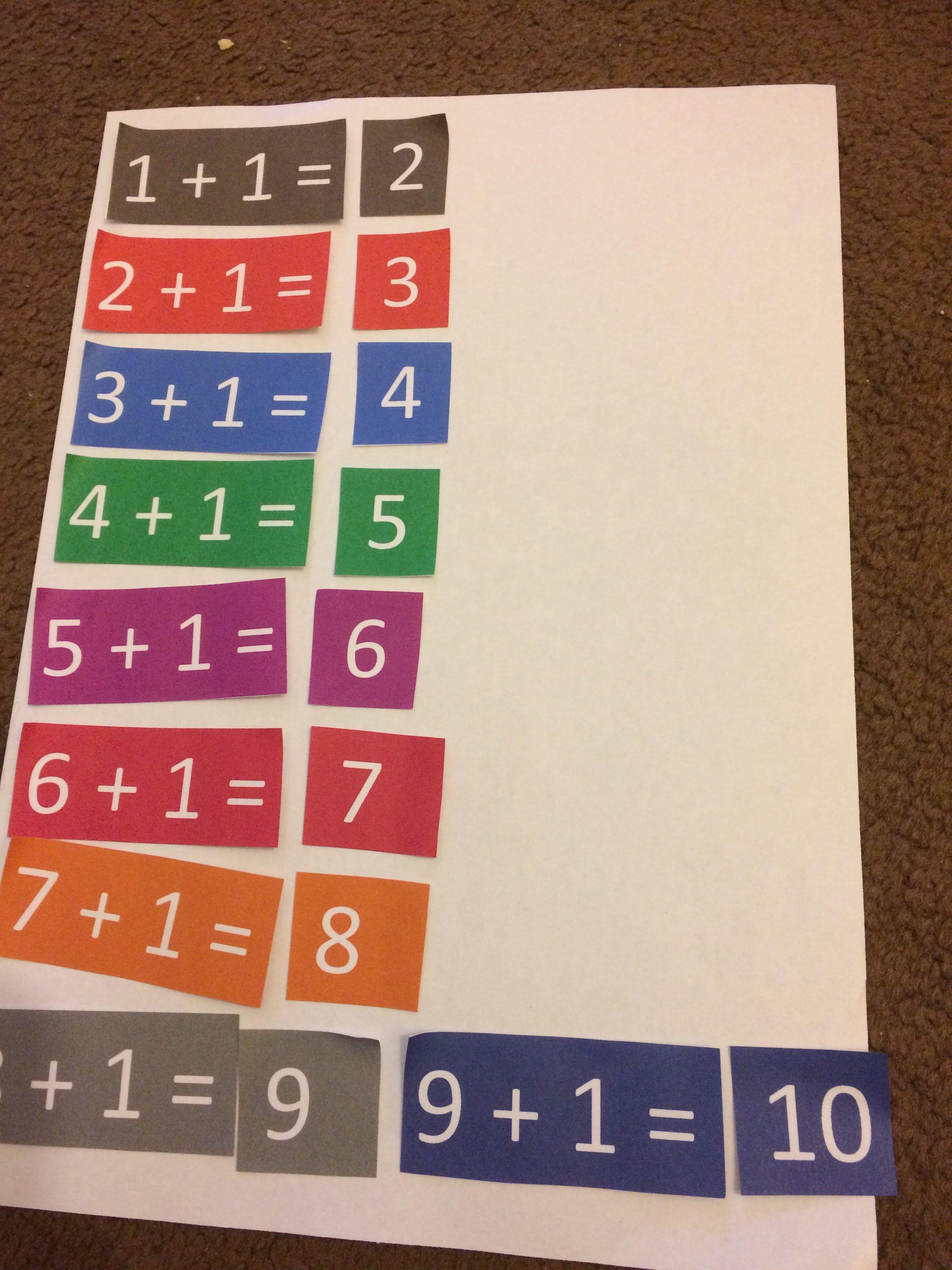 Errorless Number Sentences 1 9 Plus 1 Maths Sen Down
