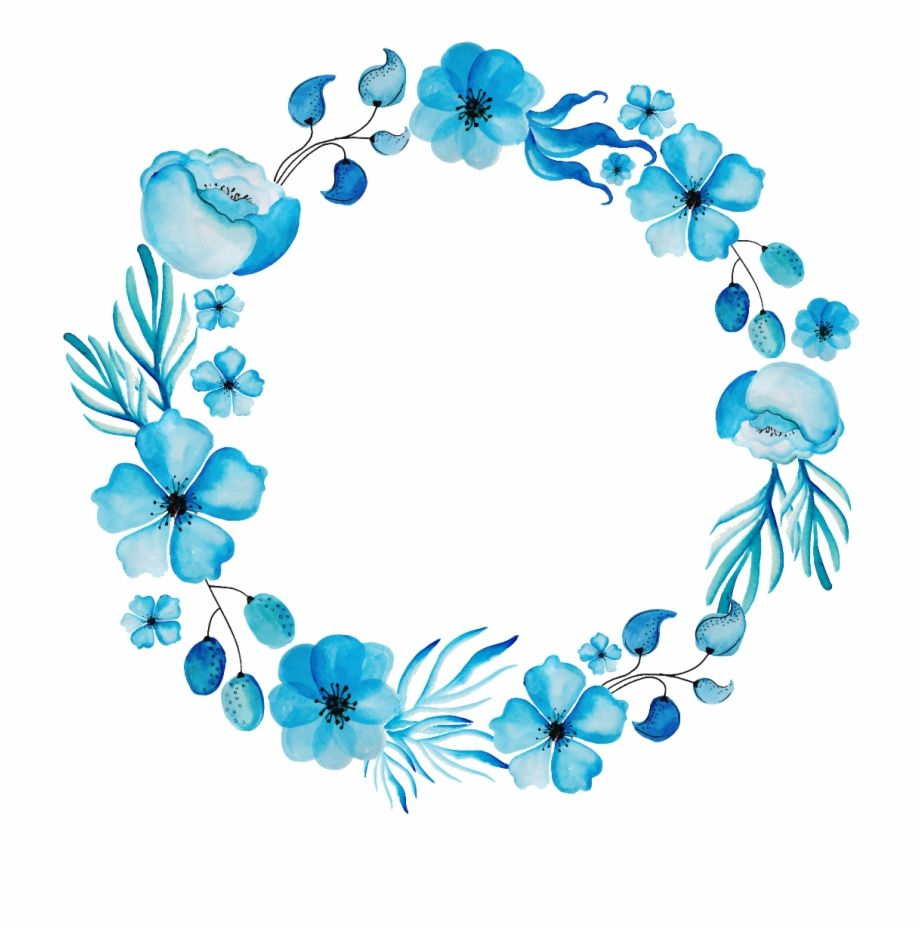 Blue Watercolor Png Blue Flower Frame Png Transparent Png Image