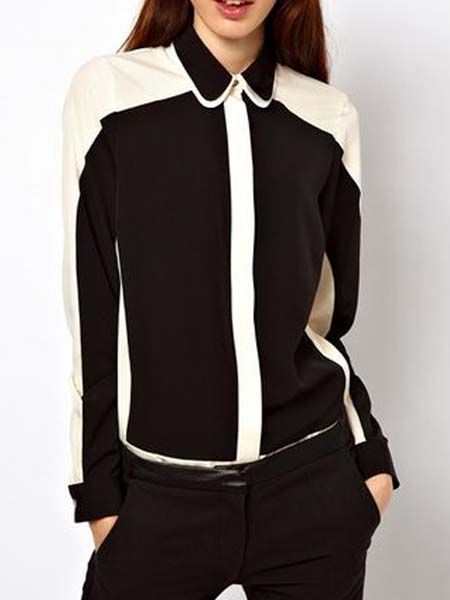 Black And White Splice Shirt | Choies