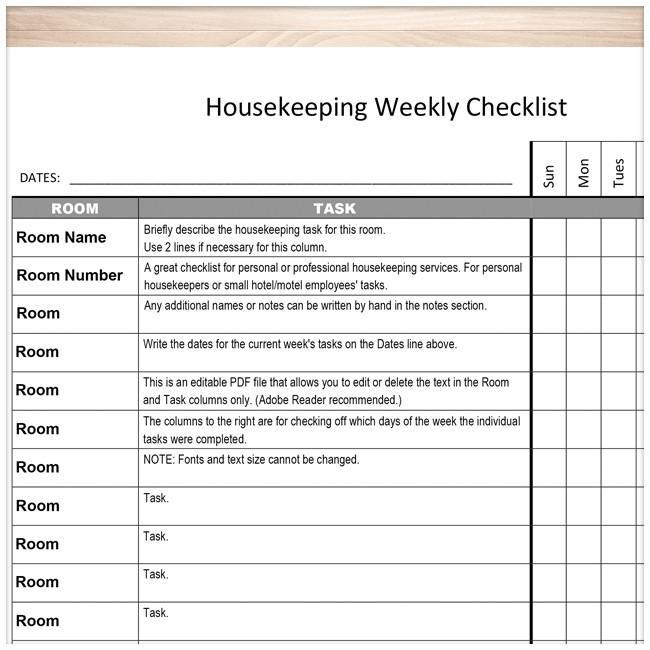Housekeeping Weekly Checklist Cleaning Services Editable Room