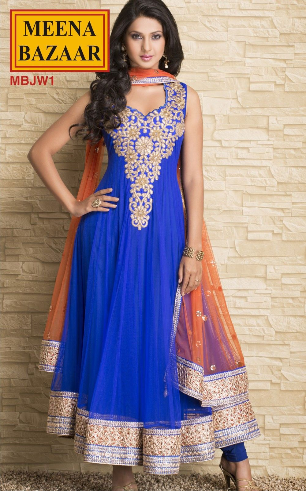 Royal blue net anarkali suit india u color u sari pinterest