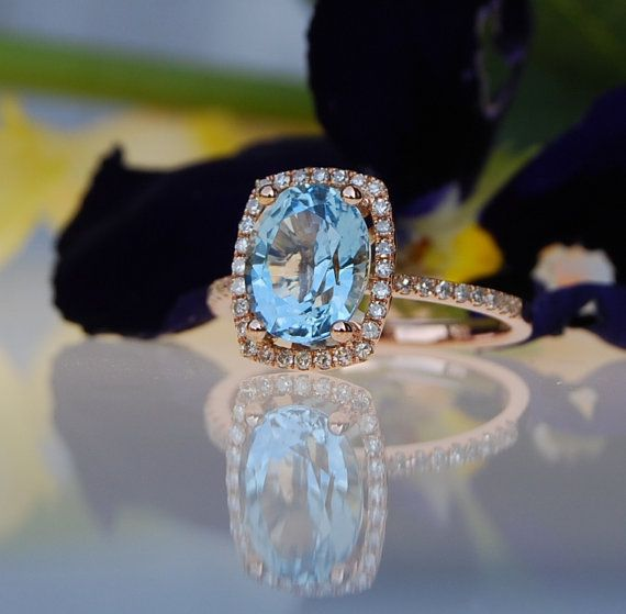 2ct blue green Aquamarine halo diamond ring by EidelPrecious $1500 00