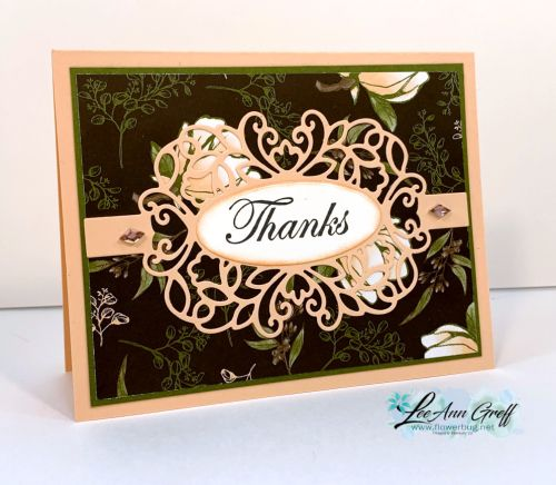 Detailed Bands makes an easy Thank You card Magnolia Lane  Detailed Bands dies Thank you card Measurements  details at
