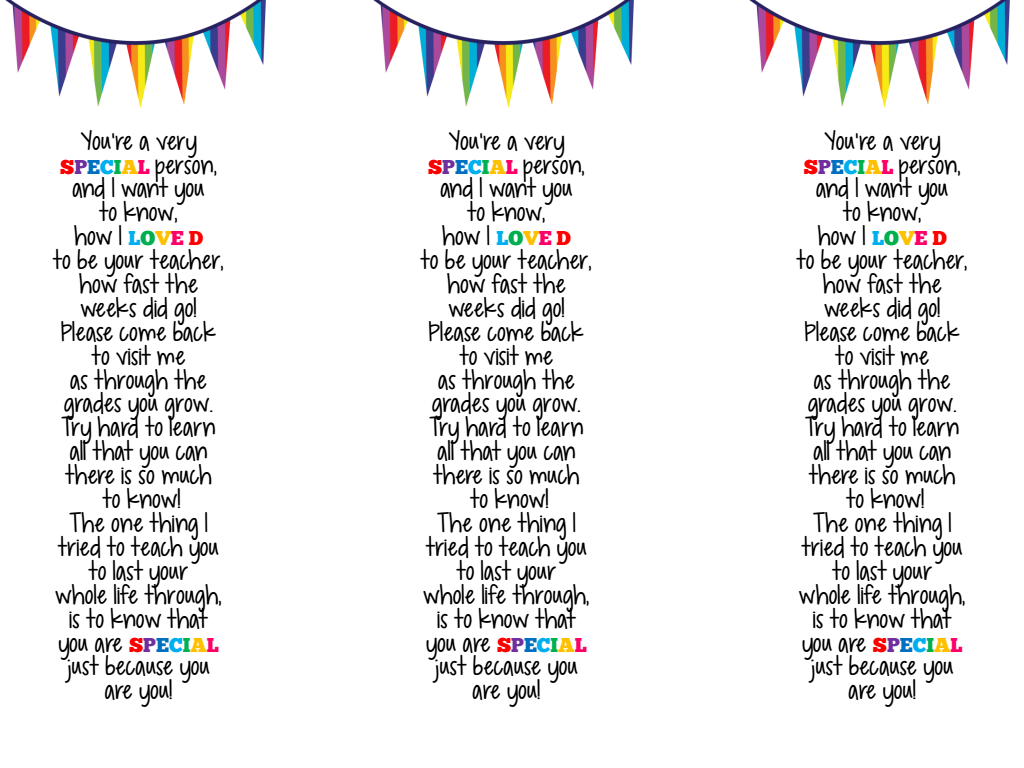End Of Year Bookmark