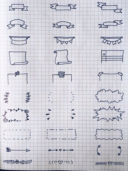 frames and banners sketch notes bullet journal 試 pinterest